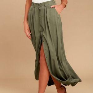 Pistola Green Maxi Skirt From LuLu's Size Medium